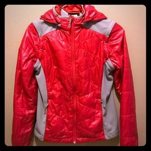 REI red down hooded jacket/vest.  girls L 14/16